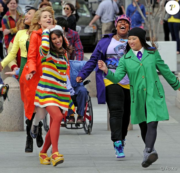 Lea Michele, Jenna Ushkowitz, Dianna Agron et Amber Riley en tournage à New York