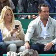 Estelle Lefébure et son compagnon Pascal Ramette - People au Tennis Rolex Masters de Monte-Carlo à Monaco. Le 19 avril 2014