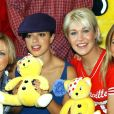 "Hannah Spearritt, Tina Barrett, Jo O'Meara, Rachel Stevens - Le groupe S Club 7 lance le ""BBC Children in need donation line"" au BT Tower. Londres."