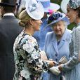 Catherine (Kate) Middleton, duchesse de Cambridge, Zara Phillips (Zara Tindall) et la reine Elisabeth II d'Angleterre - La famille royale britannique et les souverains néerlandais lors de la première journée des courses d'Ascot 2019, à Ascot, Royaume Uni, le 18 juin 2019.