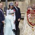 Le prince Harry, duc de Sussex, Zara Tindall, Mike Tindall, le prince William, duc de Cambridge, et Catherine (Kate) Middleton, duchesse de Cambridge, le prince Andrew, duc d'York, et la reine Elisabeth II d'Angleterre, arrivent pour assister à la messe de Pâques à la chapelle Saint-Georges du château de Windsor, le 21 avril 2119.