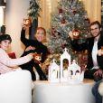 Céline Dion avec ses 3 fils, René-Charles er les jumeaux Nelson et Eddy, pour la bonne année 2019.