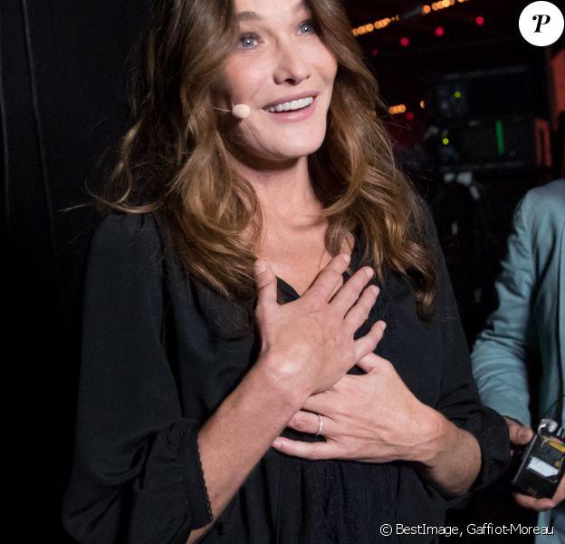 """Exclusif - Carla Bruni Sarkozy - Backstage de l'enregistrement de l'émission """"La Chanson secrète 6"""" à la Scène musicale à Paris © Gaffiot-Moreau / Bestimage"""