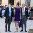 Le Prince Sebastien de Luxembourg, la Princesse Tessy de Luxembourg et le Prince Louis de Luxembourg - Arrivees des invites au mariage religieux de S.A.R le Prince Felix de Luxembourg et Claire Lademacher en la basilique Sainte-Marie-Madeleine de Saint-Maximin-la-Sainte-Baume en France, le 21 septembre 2013.