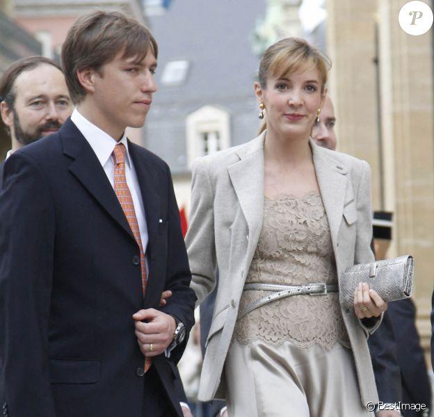 Le prince Louis et la princesse Tessy de Luxembourg - Proches et membres de la famille au mariage civil du prince Guillaume de Luxembourg et de la comtesse Stephanie de Lannoy a Luxembourg.