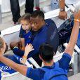 Patrice Evra, sa femme Sandra, sa fille, Maona et son fils, Lenny lors du match de l'Euro 2016 Allemagne-France au stade Vélodrome à Marseille, France, le 7 juillet 2016.