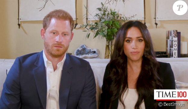 Le prince Harry, duc de Sussex, et Meghan Markle, duchesse de Sussex en interview pour l'émission Engineering A Better World TIME100, le 20 octobre 2020.