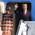 Donald Trump et sa femme Melania - La famille Trump débarque de Air Force One à l'aéroport international de Palm Beach, janvier 2021.