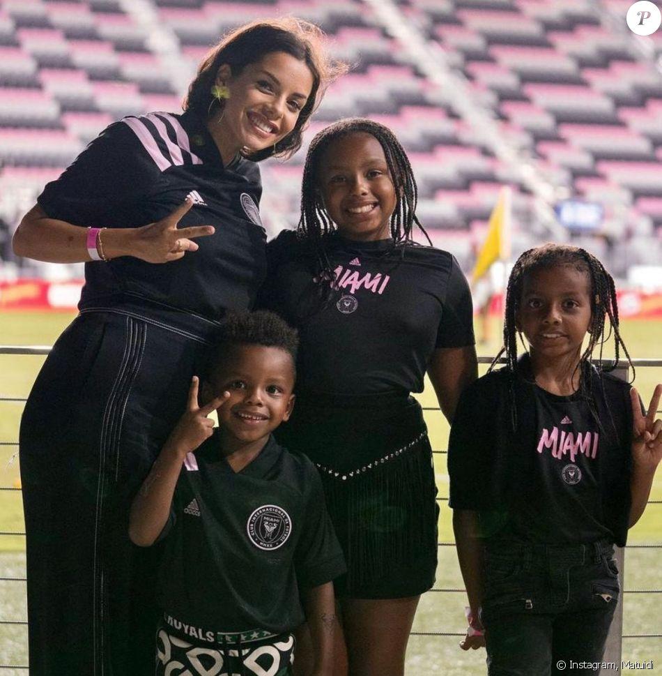 L'épouse de Blaise Matuidi, Isabelle Matuidi et leurs trois enfants à Miami. Octobre 2020.