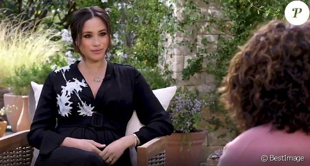 Meghan Markle lors de son interview avec Oprah Winfrey, diffusée le 7 mars 2021 sur CBS.