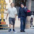 Exclusif - Jean-Claude Van Damme quitte la salle de gym avec son fils Nicholas Van Varenberg à Venice le 9 janvier 2019.
