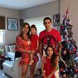 Angel Di Maria, son épouse Jorgelina Cardoso et leurs deux filles.