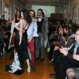Sylvie Ortega Munos et son mari Ludovic Chancel - Défilé au profit de l'association Meghanora au Salon des Miroirs à Paris, le 20 février 2016. © CVS/Bestimage