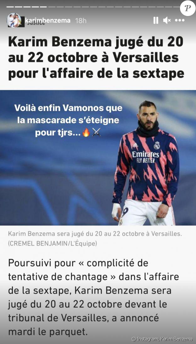 """Karim Benzema réagit à l'annonce des dates de son procès pour """"complicité de tentative de chantage""""."""