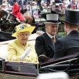 """La reine Elisabeth II d'Angleterre, le prince Philip, duc d'Edimbourg, le prince Harry et le prince Andrew, duc d'York - La famille royale d'Angleterre à leur arrivée pour le 1er jour des courses hippiques """"Royal Ascot"""". Le 14 juin 2016"""