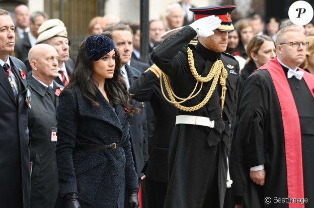 Le prince Harry, duc de Sussex, et Meghan Markle, duchesse de Sussex, assistent au 'Remembrance Day', une cérémonie d'hommage à tous ceux qui sont battus pour la Grande-Bretagne, à Westminster Abbey, le 7 novembre 2019. © Ray Tang via Zuma Press/Bestimage