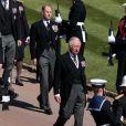Le prince Charles, prince de Galles, le prince Edward, comte de Wessex - Arrivées aux funérailles du prince Philip, duc d'Edimbourg à la chapelle Saint-Georges du château de Windsor, le 17 avril 2021.
