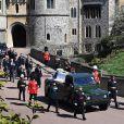 Le prince Charles, prince de Galles, le prince Andrew, duc d'York, le prince William, duc de Cambridge, David Armstrong-Jones, comte de Snowdon, Peter Phillips, la princesse Anne, le prince Edward, comte de Wessex, le prince Harry, duc de Sussex, Sir Timothy Laurence aux funérailles du prince Philip, duc d'Edimbourg à la chapelle Saint-Georges du château de Windsor, , Royaume Uni, le 17  avril 2021.