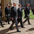 Le prince William, Peter Phillips, le prince Harry - Obsèques du prince Philip au château de Windsor, le 17 avril 2021.