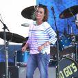 """Belinda Carlisle du groupe """"The Go-Go's"""" venant participer à l'émission """"Jimmy Kimmel Live"""" à Los Angeles, le 27 juillet 2016."""