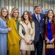Le roi Willem-Alexander et la reine Maxima des Pays-Bas avec leurs filles la princesse Alexia des Pays-Bas, la princesse Ariane des Pays-Bas et la princesse Catharina-Amalia des Pays-Bas - La famille royale des Pays-bas réunie à Eindhoven à l'occasion de la fête du Roi (Koningsdag), anniversaire du roi (54 ans).