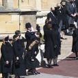La reine Elisabeth II d'Angleterre, Catherine Kate Middleton, la duchesse de Cambridge, Zara Phillips (Tindall) et Mike Tindall, la princesse Eugenie d'York et son mari Jack Brooksbank, la princesse Beatrice d'York et son mari Edoardo Mapelli Mozzi - Arrivées aux funérailles du prince Philip, duc d'Edimbourg à la chapelle Saint-Georges du château de Windsor, Royaume Uni, le 17 avril 2021.-