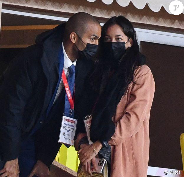 Alize Lim et Tony Parker lors du match entre Monaco (ASM) et Lyon (OL) au stade Louis II de Monaco
