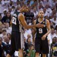 Tony Parker et Tim Duncan sous le maillot des San Antonio Spurs en 2013.