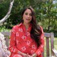Meghan Markle, enceinte, s'adresse à l'assistance du concert caritatif Vax Live à Los Angeles, le 8 mai 2021.