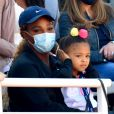 Serena Williams et sa fille Olympia (3 ans) assistent au premier match de l'Ultimate Tennis Showdown (UTS) 4 au technopole Sophia Antipolis à Biot. © Bruno Bébert/Bestimage