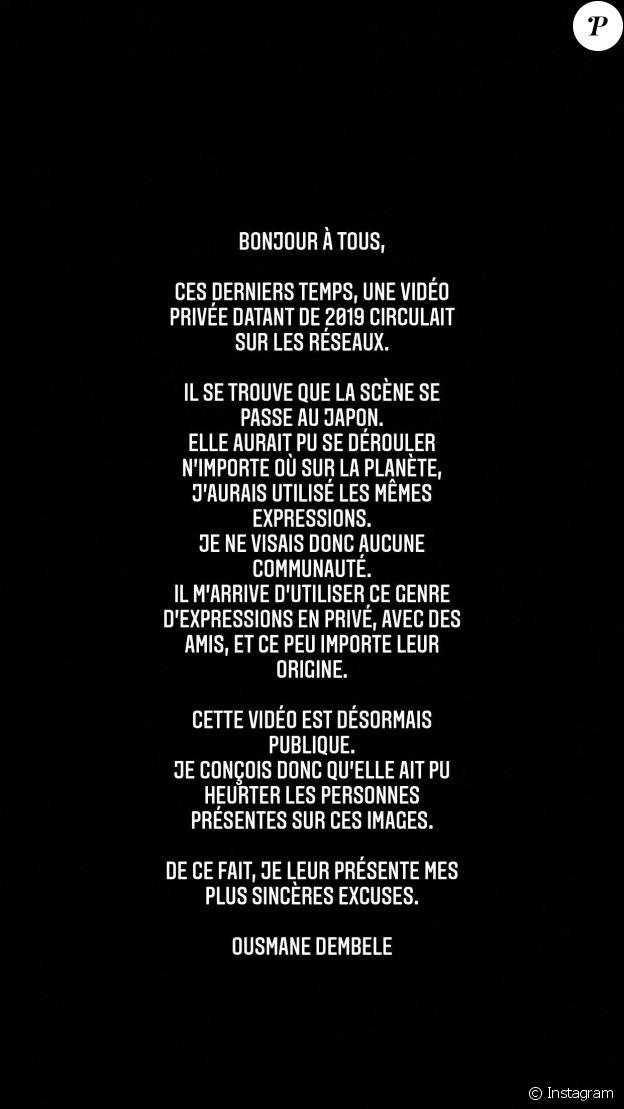 Message d'excuses publié par Ousmane Dembélé lundi 5 juillet.