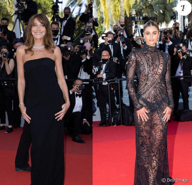 Carla Bruni-Sarkozy et Taylor Hill au 74e Festival de Cannes.