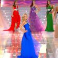 Miss Rhône-Alpes, finaliste à l'élection de Miss France 2010, en tenue de grand couturier... Des robes signées Zuhair Murad.