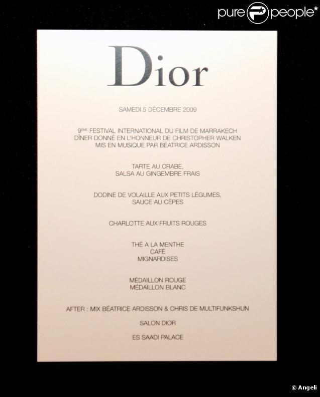 Le menu de la soirée Dior au palace Es Saadi durant le festival du film de Marrakech le 5 ...