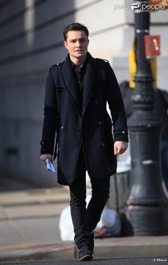 Ed Westwick sur le tournage de Gossip Girl à New York, le 8 décembre 2009