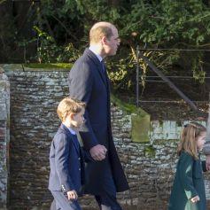 Le prince William, duc de Cambridge, et Catherine (Kate) Middleton, duchesse de Cambridge, la princesse Charlotte de Cambridge et le prince George de Cambridge lors de la messe de Noël en l'église Sainte-Marie-Madeleine à Sandringham au Royaume-Uni, le 25 décembre 2019.