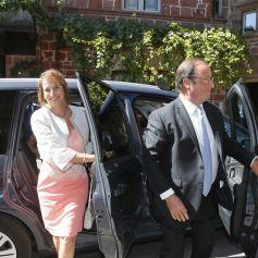 Ségolène Royal et François Hollande - Mariage de Thomas Hollande et de la journaliste Emilie Broussouloux l'église de Meyssac en Corrèze, près de Brive, ville d'Emiie. Le 8 Septembre 2018.
