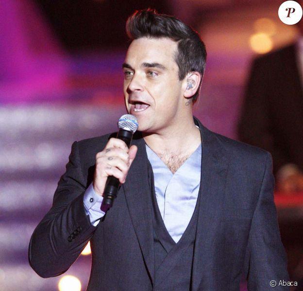 Robbie Williams à l'élection Miss France 2010, à Nice, le 5 décembre 2009.