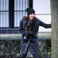 Jessica Szohr sur le tournage de Gossip Girl. A New York le 10 janvier 2010.