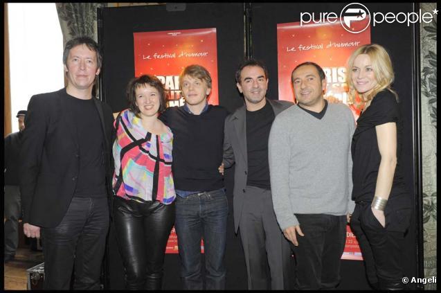 Jean-Luc Lemoine, Anne Roumanoff, Alex Lutz, Bruno Solo, Patrick Timsit et Véronique Dicaire à la conférence de presse du festival Paris fait sa comédie, à l'Hôtel de Ville de Paris, le 18 février 2010 !
