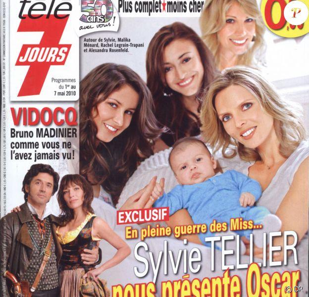 Sylvie Tellier, et son petit Oscar, Malika Ménard, Rachel Legrain-Trapani et Alexandra Rosenfeld en couverture de Télé 7 Jours