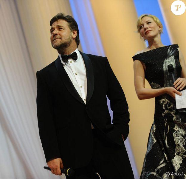 Russell Crowe et Cate Blanchett lors de la cérémonie d'ouverture du festival de Cannes 2010