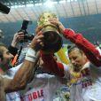 Le Bayern de Munich célèbre sa victoire lors de la Coupe d'Allemagne contre Bremen dans le Stade Olympique de Berlin le 15 mai 2010