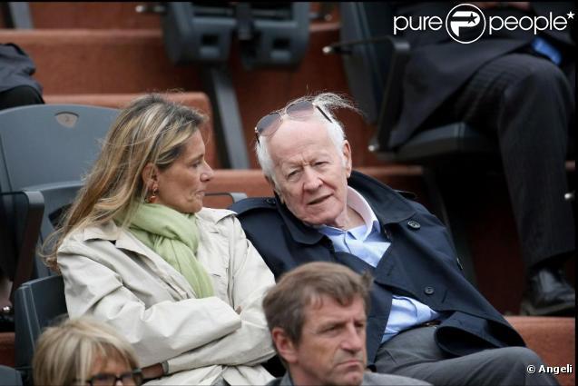 Jacques Chancel et son ��pouse Martine �� Roland-Garros, le week-end.