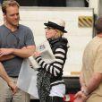 Madonna sur le tournage de  W.E. , à Londres, le 8 août 2010