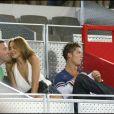 Cristiano ronaldo et Irina Shayk lors d'un match de basket qui opposait l'équipe espagnole à l'équipe américaine, à Madrid le 22 août 2010
