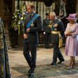 Le prince William, le prince Charles et son épouse Camilla lors de la commémoration de la Bataille d'Angleterre en l'abbaye de Westminster à Londres le 20 septembre 2010