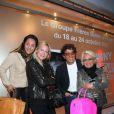 """Inauguration exposition """"Johnny Hallyday inédit par Tony Frank"""", Espace Pierre Premier, le 18 octobre 2010 : Hermine de Clermont-Tonerre, Tony Frank et Véronique de Villèle."""