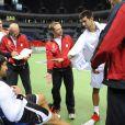 Les Serbes de Novak Djokovic à l'entraînement, à Belgrade, avant la finale de Coupe Davis.