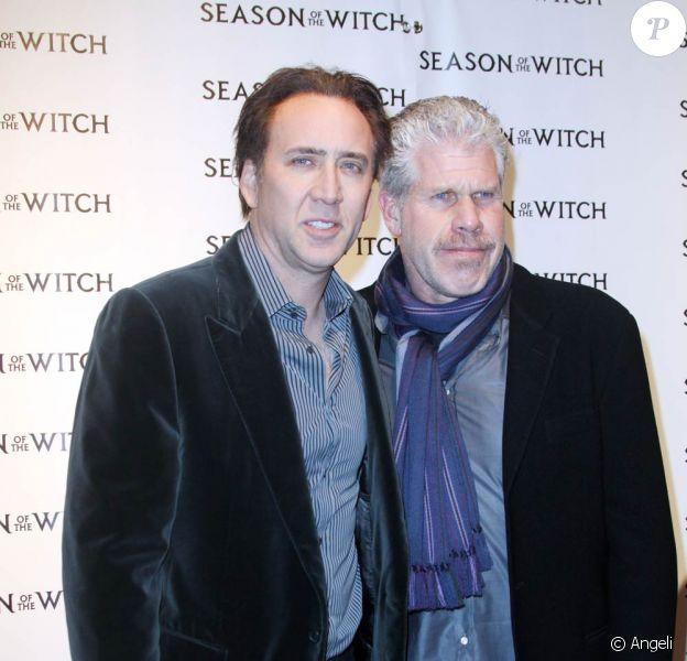 Nicolas Cage et Ron Perlman à l'occasion de l'avant-première du Dernier des Templiers, à l'AMC Loews de Lincoln Square, à New York, le 4 janvier 2011.